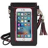 MoKo Touchscreen Handy Tasche Hülle - 2-in-1 PU Leder Wasserdichte Handtasche Schultertasche mit Straps für iPhone XS/Xs Max/XR/, Galaxy S10e/S10/S10 Plus, Smartphone bis zu 5.5 Zoll, Schwarz/Rot