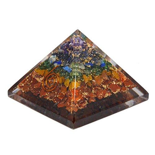 Originale, mehrfarbige Chakra-Orgonitpyramide, Energie-Generator mit Gravur (ca. 2,5 cm), in wunderschöner Verpackung (Chakra-Original: 40 - 55 mm). -