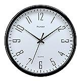 """Plumeet 10"""" Orologio da Muro Silenzioso con Numero Grandi E Graziosi e Movimento Digitale Senza Ticchettio, Orologi da Parete Design Moderno Ottimo per la Camera da Letto e la Cucina Funzionamento a Batterie (Nero)"""