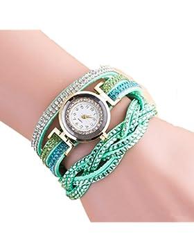 SSITG Wickeluhr Uhr Damenuhr Armbanduhr Mädchen Wickelarmband goldf. Strass