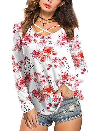 Beluring Damen Tunika V Ausschnitt Oberteile Floral Shirt Bluse Tops Weiß S -