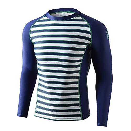 SABOLAY Men es Lycra Elastic Stripes Long Sleeves Diving T-Shirt Swimwear Clothing,B,XXL