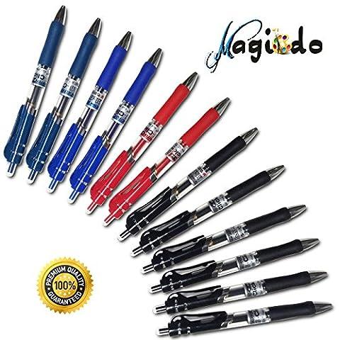 magicdo® 12PCS Druckkugelschreiber, Bold Point Roller Pens 4Farben sortiert, Premium-Gel-Stifte, für etwas Kritzeln & Schreiben, Gel-Tinte Rolling Pen Kit–0,5Millimeter Metall Spitze (4Farben/Set)