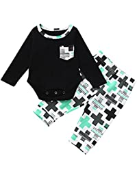 Ropa para bebés,Ropa para niños,(0-24M) Baby Long Sleeve Pocket Letter Plus Imprimir Top Clothes + Pants…