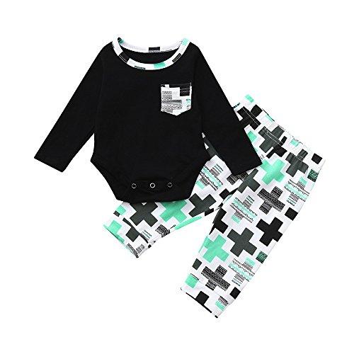(Covermason Babykleidung,2 Stück Kleinkind Baby Jungen Lange Ärmel Kleider einstellen Plaid Drucken Oberteile + Hosen Outfits(0-24M) (90, Mehrfarbig))