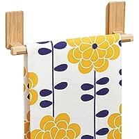 mDesign AFFIXX Toallero de bambú para colgar en pared, sin taladro - Soporte ideal como porta toallas y repasadores - Portatoallas autoadhesivo - resiste hasta 1,36 kg de carga