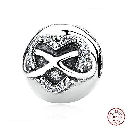 Chicbuy europea autunno infinity heart clip in argento sterling 925perline fai da te adatto per originale pandora bracciali gioielli
