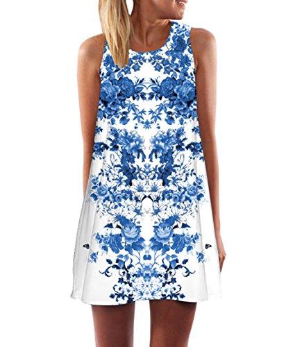 ec56df85665c7d 365-Shopping Damen Frauen Sommer Ärmellos Chiffon Kleider Sommerkleid  Strandkleid Lose Minikleid Partykleider Top (