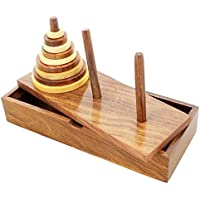SKAVIJ Torre di Hanoi 9 Squillare di legno Matematico Puzzle Gioco Cervello Teasers Intellettuale Giocattolo per bambini e adulti