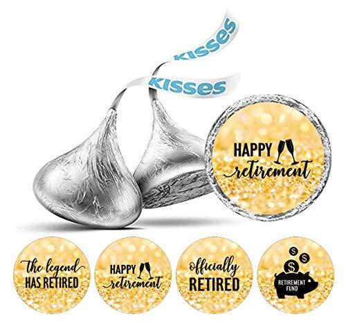 Darling Souvenir 190 Pcs Retirement-Party Favor Stickers Hershey Kisses Süßigkeit Labels-Flitter Gold