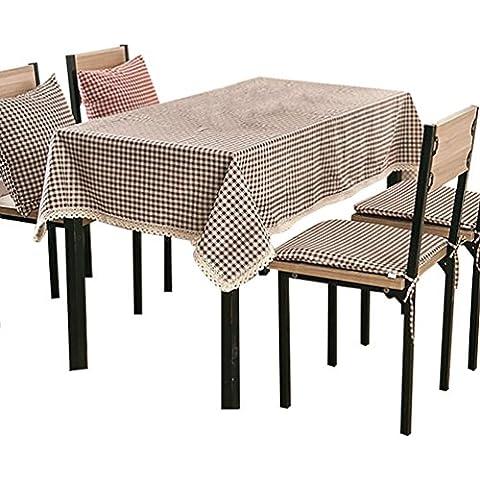 NiSeng Decoracion de manteles a cuadros de encaje Manteles de tela de lino antimanchas rectangular para restaurantes Café 100x140 cm