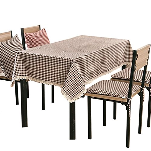 NiSeng Decoration de table - Nappe de table en lin a carreaux pour Table Rectangulaire , Table Carrée d Table Ronde/Nappes avec dentelle anti taches Café 100x140 cm