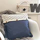 Kissenhülle HOME blau 45x45 Holzknöpfe Spitze creme Kissenbezug Landhaus Shabby