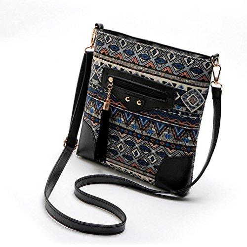 BZLine® Frauen Böhmische Druckerei Messenger Taschen Vintage Crossbody Tasche Blau
