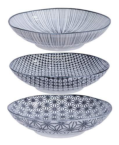 TOKYO design studio, Nippon Black, 3 Pasta Teller Set 21cm, Japan, rund. Nudelteller Porzellan Set. Design Teller