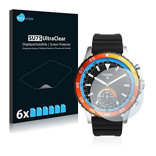 Savvies Schutzfolie kompatibel mit Fossil Q Crewmaster [6er Pack] - klarer Bildschirmschutz