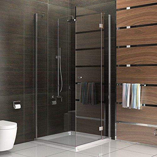 BAD Rahmenlos Vier-Eck ESG Echtglas Duschkabine Duschabtrennung 90x90x200 Dusche inkl Glasveredelung