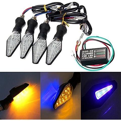 Chronos 4pcs motocicleta ámbar y azul 12 LED s señal de giro luz indicadora de la luz con relé de intermitencia
