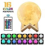 Größer!20cm 3D Mond Lampe mit Fernbedienung für Kinderzimmer [16 farbe] (16color)