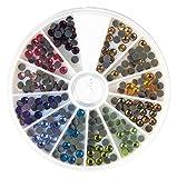 Rayher 15129999 Hotfix Strasssteine aus Glas, 4 mm ø, 12 Farben, Sortierbox 240 Stück, Glas-Strasssteine, Schmucksteine zum Aufbügeln
