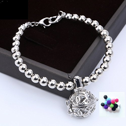 Damen Armband, Exquisit Kugel Perlenkette Armkette Armreif mit Aromatherapie Ätherische Öle Diffusor Floating Medaillon Locket Anhänger, Silber (Floating-charme-armband)