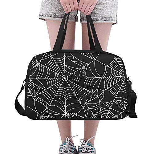 Halloween Schwarz Grau Spinnennetz Benutzerdefinierte Große Yoga Gym Totes Fitness Handtaschen Reise Seesäcke Mit Schultergurt Schuhbeutel Für Übung Sport Gepäck Für Mädchen Herren Frauen Outdoor