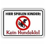 HIER SPIELEN KINDER / KEIN HUNDEKLO - Kein Hundekot / T-024 (30x20cm Schild)