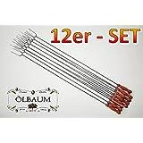 BTV Haus & Garten - 12 spiedini con forcone, 100 cm, con spazzola per la pulizia, in acciaio, ideali per barbecue