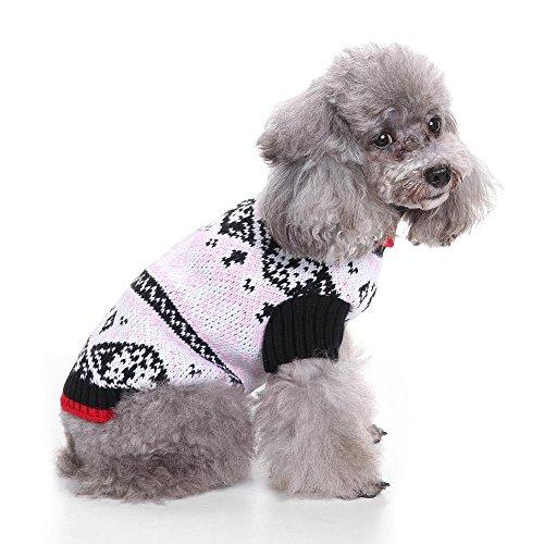 Ferienzeit Nordic Fair Isle Snowflake Hund Pullover LNAG , (Der Britischen Kostüm Mantel Roten)