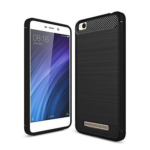 msk Xiaomi Redmi 4A Hülle, Ledertasche Case Weiche Silikon Smartphone Schutzhülle Kohlefaser TPU Bumper Hüllen für Xiaomi Redmi 4A (Schwarz)