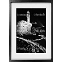 Archivio Foto Locchi Firenze – Shadow Box: Stampa Fine Art su cornice artigianale 53x73x4,5cm. – Immagine notturna di Piazza della Signoria a Firenze