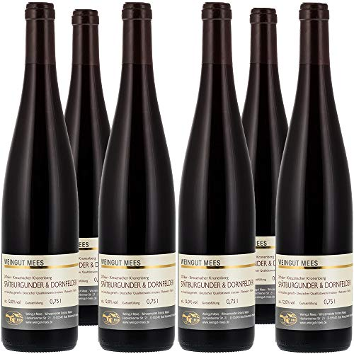 Weingut Mees Spätburgunder & Dornfelder Rotwein Cuvee Trocken 2016 Prämiert Nahe Qualitätswein QbA Deutschland Wein (Weinpaket 6 x 750 ml)