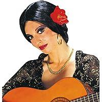 Spagnola parrucca Carmen con fiore stile ballerina di flamenco colore nero  chioma finta da donna 4d6ba73c5ef4
