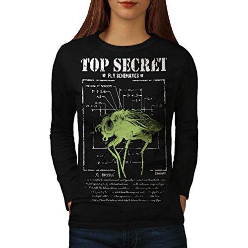 meilleur-secret-mouche-insecte-capteur-femme-nouveau-noir-l-t-shirt-manches-longues-wellcoda