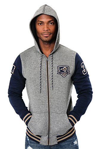 Zip Fleece Hoody Jacke (Icer Brands NFL Herren Fleece-Kapuzenpullover Letterman Varsity Jacket, Teamfarbe, Herren, Full Zip Fleece Hoodie Letterman Varsity Jacket, Team Color, Navy, Large)