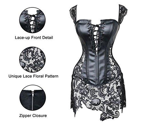 Kiwi-rata Damen Gothic Kunstleder Korsagenkleid Schwarz Faux Leder corsage Clubwear 4 Farbe/Gr. S - 6XL Schwarz