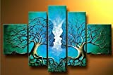 Wieco Art - Blue Tree Human Body Modern 5 Piece 100% Hand Painted Artwork Stretched and Framed Contemporary Abstract Oil Paintings on Canvas Wall Art for Living Room Bedroom Home Decorations - Wieco Art - amazon.co.uk