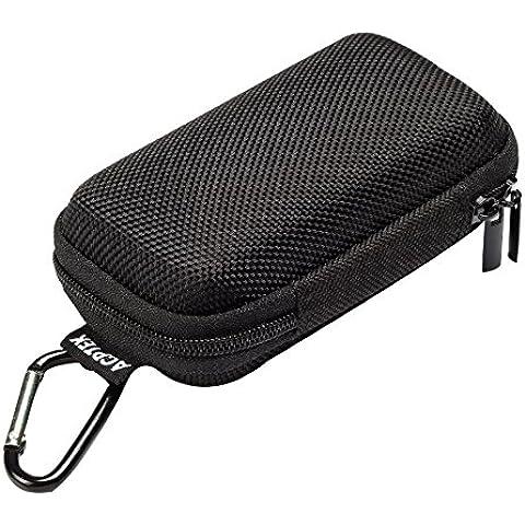 AGPtek BC Duradera cubierta Estuche para organizar MP3 Reproductor y Auriculares, soporte con mosquetón de Metal, color Negro