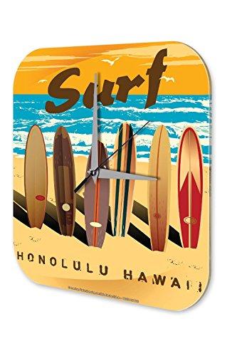 LEotiE SINCE 2004 Wanduhr mit geräuschlosem Uhrwerk Dekouhr Küchenuhr Baduhr Sport Surfbretter Surfen Strand Hawaii Deko Wand Uhr Vintage Retro