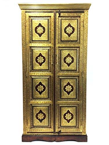 Orientalischer Grosser Schrank Kleiderschrank Tunahan 180cm hoch | Marokkanischer Vintage Dielenschrank schmal | Orientalische Schränke aus Holz massiv für