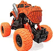 Popsugar Pull Back Dinosaur Monster Truck with Big Rubber Wheels for Kids, Orange