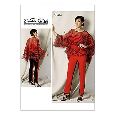 Vogue Patterns Mesdames 1491ourlet Mouchoir Patron de Couture Tunique haut et pantalon pour femme + Gratuit Minerva Crafts Craft Guide