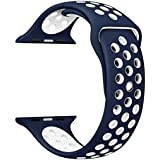 eCosmos 42mm Replacement Quick Release Sports Silicone Sport iWatch Braclet Strap Band For Apple Watch Series 1 2 & 3 (Blue and White)