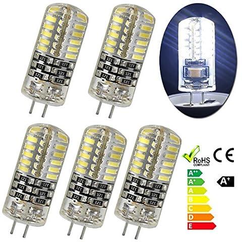 GreenSun 5er-Pack G4 Stiftsockel 3W LED Energiesparlampe Glühbirne 48*3014SMD Leuchtmittel Birne Lampe Kühlesweiß 360º Abstrahlwinkel DC 12V