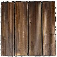 YUMOMO Natural Hardwood Decking piastrelle - Incastro massiccio Piastrelle ponte di legno per il giardino, veranda, balcone, tetto decorazione (confezione da 10)