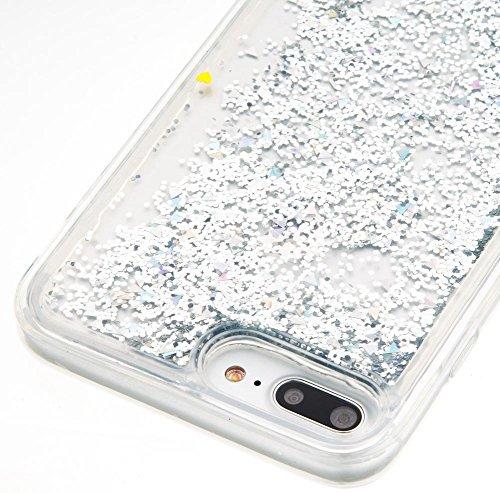 Coque iPhone 7 Plus, Glitter Liquide TPU Etui, Firefish Dynamique Liquide Forme de Cœur Sables Mouvants Transparente Case pour iPhone 7 Plus Argent