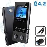 MP3 Player, 8GB Bluetooth Sport Musik Player mit Lautsprecher, 22 Stunden Wiedergabe Portable MP4 Player mit FM Radio Voice Recorder E-Book Pedometer, 1.8'' TFT Bildschirm, Bis zu 128 GB