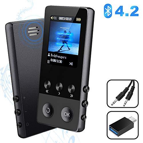 MP3 Player, 8GB Bluetooth Sport Musik Player mit Lautsprecher, 22 Stunden Wiedergabe Portable MP4 Player mit FM Radio Voice Recorder E-Book Pedometer, 1.8\'\' TFT Bildschirm, Bis zu 128 GB