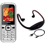 I KALL K14 Black Dual Sim Mobile With Neckband
