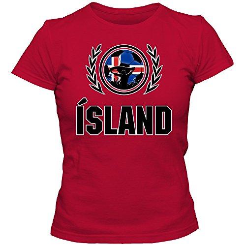 Island EM 2016 #2 T-Shirt | Fußball | Damen | Strákarnir okkar | Trikot | Nationalmannschaft, Farbe:Rot (Red L191);Größe:S